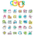 Flat line icons set of shopping Royalty Free Stock Photography