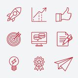 Flat line icons set of small business planning Stock Image
