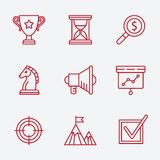 Flat line icons set of small business planning Stock Photo
