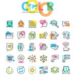 Flat line icons set of social media Stock Image