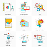 Flat line icons set of  Technology and Development  Stock Images