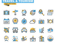 Flat line icons set of travel and tourism. Sign and object, holiday trip planning, online travel services, tour organization, air travel to cruise, summer and Stock Images