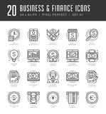 Flat line icons set. Trendy Modern thin linear. Stroke vector icons Business and Finance concept. For website graphics, Mobile Apps, Infographics design Royalty Free Stock Image