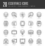 Flat line icons set. Trendy Modern thin linear Royalty Free Stock Images