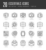 Flat line icons set. Trendy Modern thin linear stroke vector Essentials Objects concept Royalty Free Stock Photo