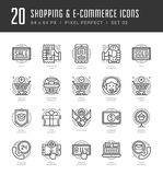Flat line icons set. Trendy Modern thin linear stroke vector Shopping and E-Commerce concept Royalty Free Stock Photography