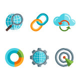 Flat line icons set of website search engine Stock Photos