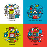 Flat line icons set of workshop, education, e-learning, tutorials Royalty Free Stock Photography