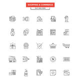 Flat Line Icons- Shopping and commerce Royalty Free Stock Image