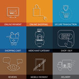 Flat line icons on shopping, e-commerce, m-commerce - concept ve Royalty Free Stock Photos
