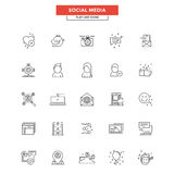 Flat Line  Icons- Social media Royalty Free Stock Photos