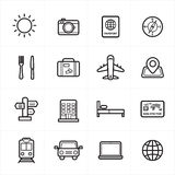 Flat Line Icons For Travel Icons and Transport Icons Vector Illustration Royalty Free Stock Images