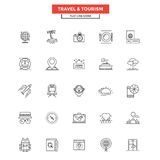 Flat Line Icons- Travel and Tourism Stock Photos