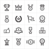 Flat Line Icons Trophy and Prize Icons Vector Illustration Royalty Free Stock Photo