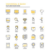 Flat Line Icons- Universal and Basic Royalty Free Stock Photos