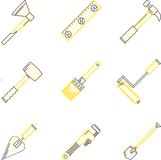 Flat line icons for woodwork tools Royalty Free Stock Photography