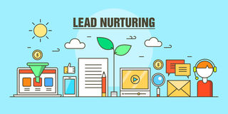 Flat line illustration concept for business lead nurturing web banner. Modern concept of lead nurturing, process that helps to convert the lead into sales and Stock Photo