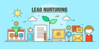 Flat line illustration concept for business lead nurturing web banner Stock Photo