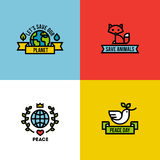 Flat line illustration of green planet, peace day and save the animals Royalty Free Stock Images
