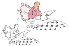 Flat line illustration. A man reading a newspaper in bed. Stock Photography