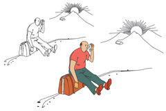 Flat line illustration. Tired tourist sitting on the roadside. Royalty Free Stock Images