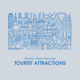 Flat line illustration of world's most popular tourist attractions Royalty Free Stock Image