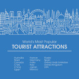 Flat line illustration of world's most popular tourist locations Stock Images