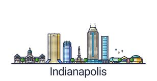 Flat line Indianapolis banner Stock Photos