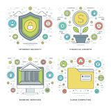 Flat line Internet Security, Financial Growth, Banking Services, Business Concepts Set Vector illustrations. Modern thin linear stroke vector icons. Website Stock Images