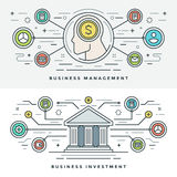 Flat line Investment and Business Management Concept Vector illustration. Modern thin linear stroke vector icons. Stock Images