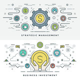 Flat line Investment and Business Strategy Concept Vector illustration. Modern thin linear stroke vector icons. Website Header Graphics, Banner, Infographics Stock Image