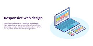 Flat line isometric illustration of devices with different view one web page. For demonstration responsive web design Royalty Free Stock Images