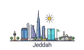 Flat line Jeddah banner. Banner of Jeddah city in flat line trendy style. Jeddah city line art. All buildings separated and customizable royalty free illustration