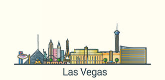 Flat line Las Vegas banner. Banner of Las Vegas city in flat line trendy style. All buildings separated and customizible. Line art Royalty Free Stock Image
