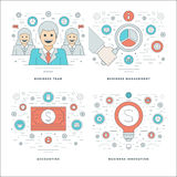 Flat line Management, Finance Accounting, Innovations, Business Team Concepts Set Vector illustrations. Modern thin linear stroke vector icons. Website Header Royalty Free Stock Photo