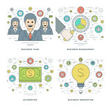 Flat line Management, Finance Accounting, Innovations, Business Team Concepts Set Vector illustrations. Modern thin linear stroke vector icons. Website Header Royalty Free Stock Photos
