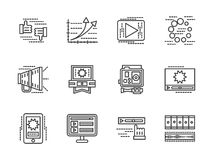 Flat line media icons set. Video symbols. Sharing, analytic, video processing, discussion and other symbols for blogging, video blog. Flat black line icons set Stock Photography