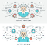 Flat line Media and Network Concept Vector illustration. Modern thin linear stroke vector icons. Stock Photography