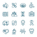 Flat line medical icons set Royalty Free Stock Photography