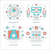 Flat line Meeting, Fundraising, Banking, Shopping Business Concepts Set Vector illustrations. Royalty Free Stock Photo