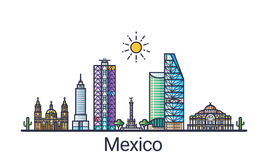 Flat line Mexico banner Royalty Free Stock Photography