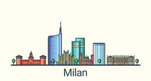Flat line Milan banner Royalty Free Stock Photo