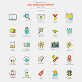 Flat Line Modern Color icons royalty free illustration