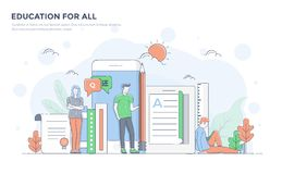 Flat Line Modern Concept Illustration - Education for all Stock Images