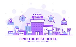 Flat Line Modern Concept Illustration - Hotel. Thin line smooth purple and blue flat design banner of Find the best hotel for website and mobile website, easy to Royalty Free Stock Images