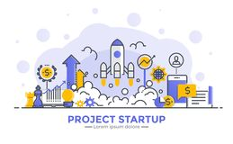 Flat Line Modern Concept Illustration - Project Startup Stock Photos
