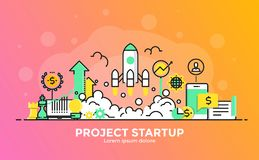 Flat Line Modern Concept Illustration - Project Startup Royalty Free Stock Photography