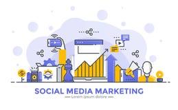 Flat Line Modern Concept Illustration - Social Media Marketing Royalty Free Stock Photos