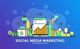 Flat Line Modern Concept Illustration - Social Media marketing Stock Image