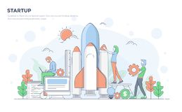 Flat Line Modern Concept Illustration - Startup Royalty Free Stock Images